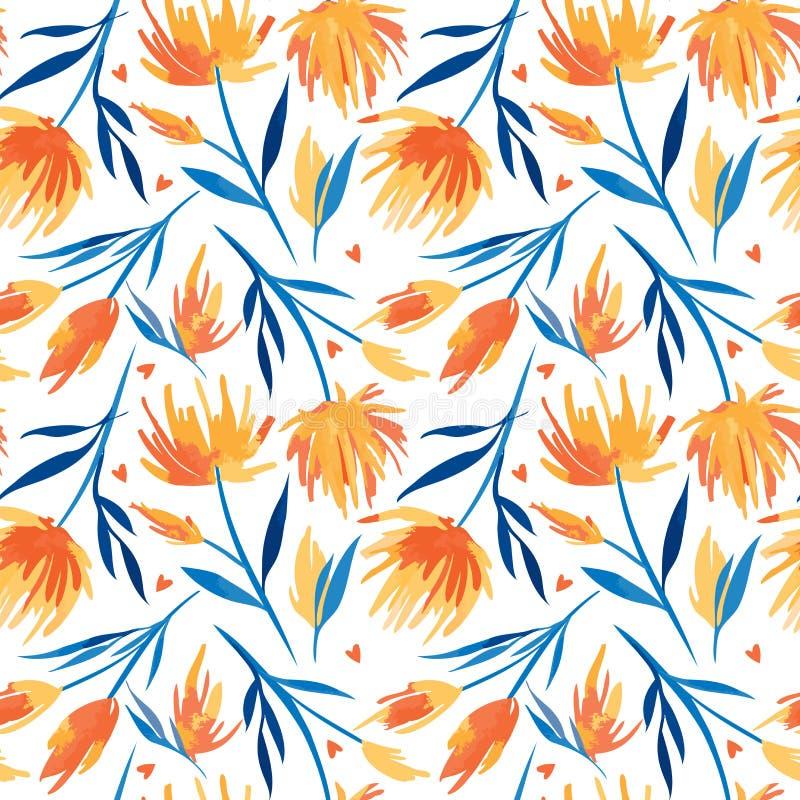 Wektorowego watercolour kwiecisty bezszwowy wzór, delikatni kwiaty, zieleń, turkus i menchia kwiaty, obrazy stock