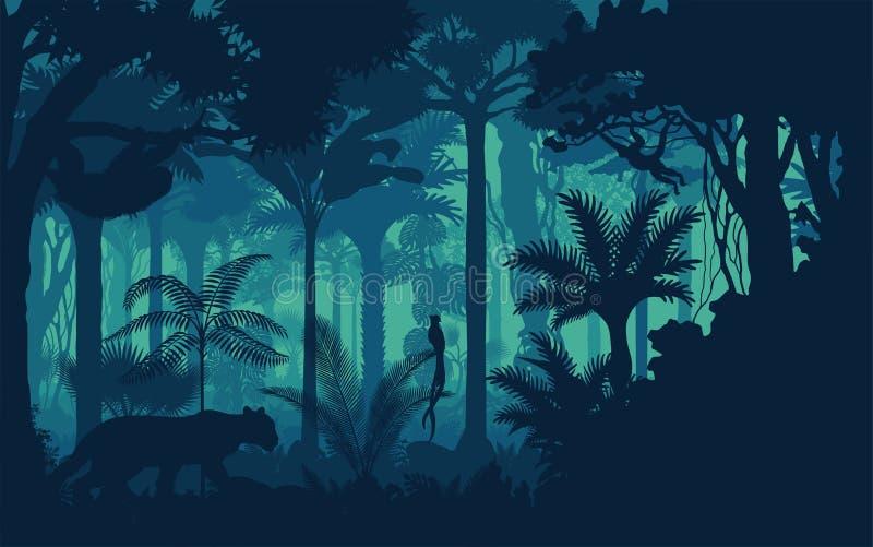 Wektorowego wieczór tropikalnego lasu deszczowego dżungli tropikalny tło z jaguarem, opieszałość, małpi i qetzal royalty ilustracja