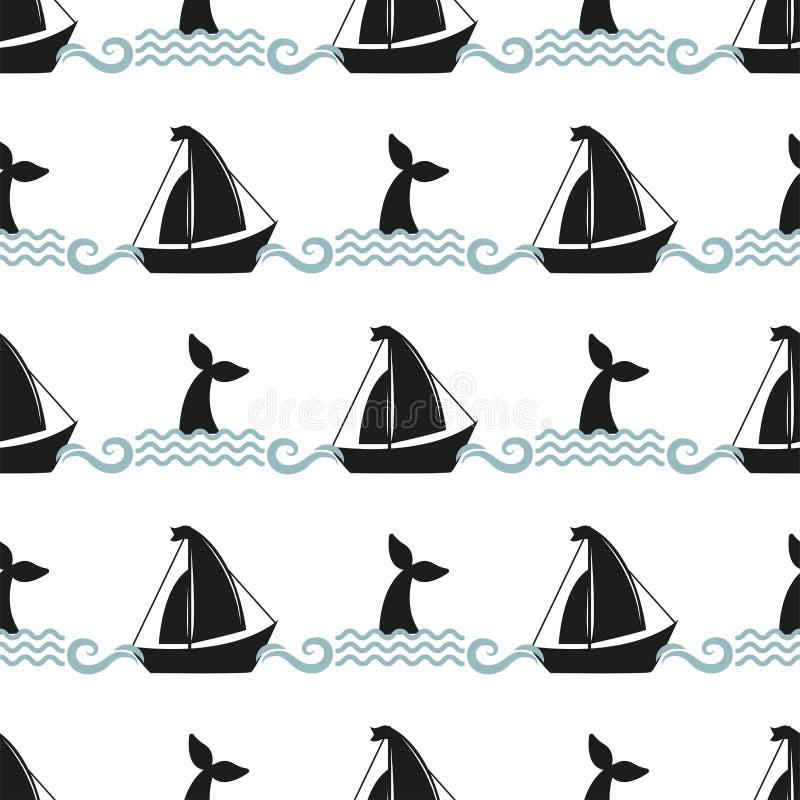 Wektorowego wielorybiego ilustracyjnego bezszwowego deseniowego humpback oceanu statku naczynia ssaka przyrody nadwodnego zwierzę ilustracja wektor