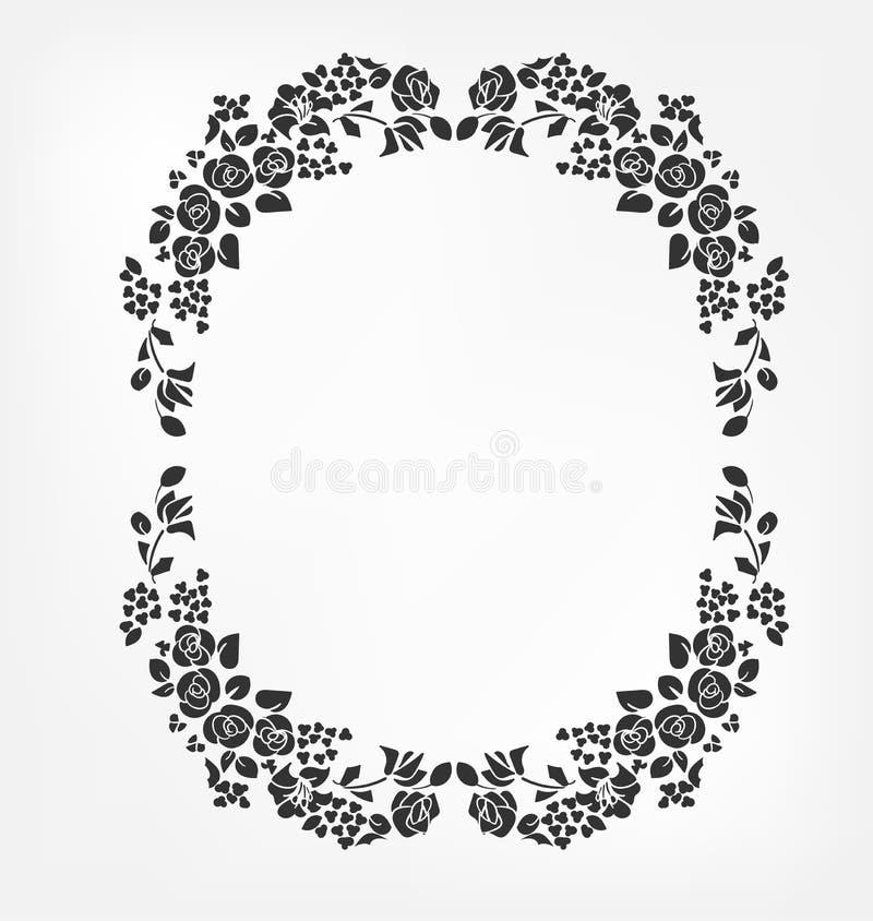 Wektorowego wiktoriański projekta barokowi elementy kwitną różanego płomienia okręgu ellipce ilustracji