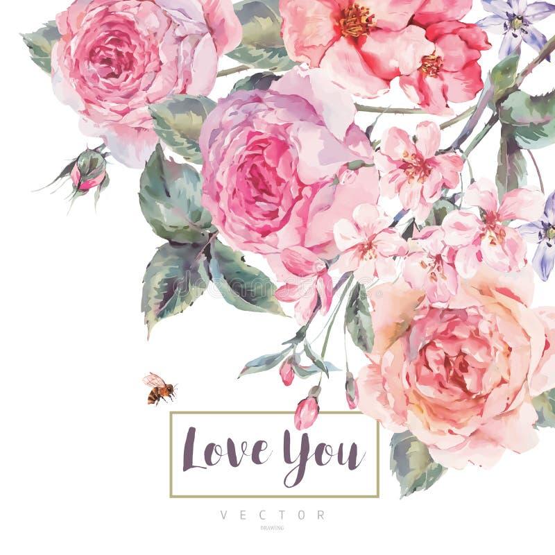 Wektorowego wiosna rocznika kwiecisty kartka z pozdrowieniami z bukietem róże royalty ilustracja