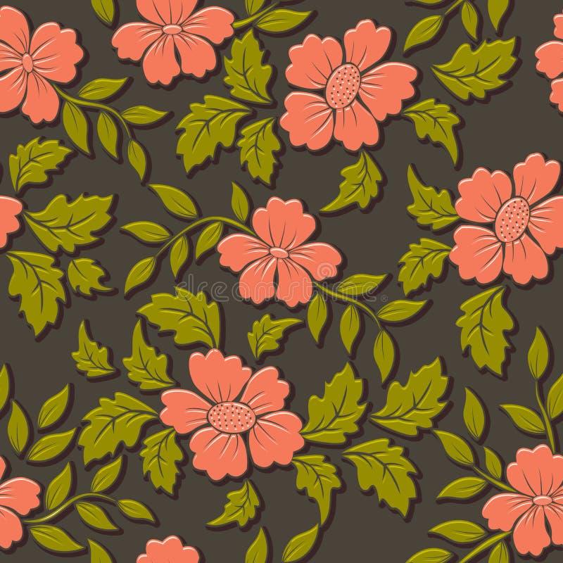 Wektorowego wolumetrycznego kwiatu bezszwowy deseniowy element Elegancki luksus embossed teksturę dla tło, bezszwowa tekstura dla royalty ilustracja