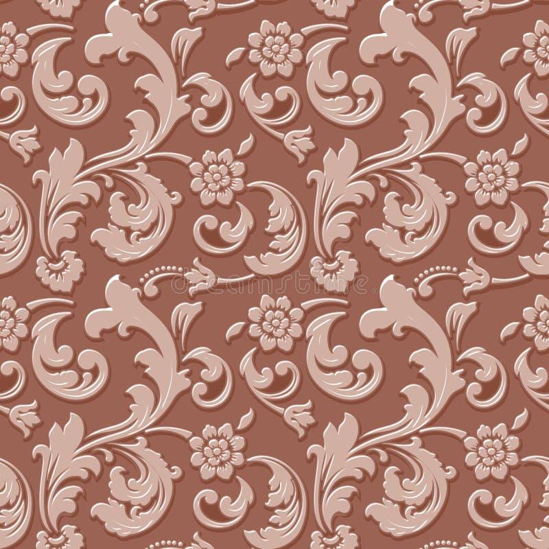 Wektorowego wolumetrycznego kwiatu bezszwowy deseniowy tło Elegancki luksus embossed teksturę dla tło, bezszwowa tekstura ilustracji