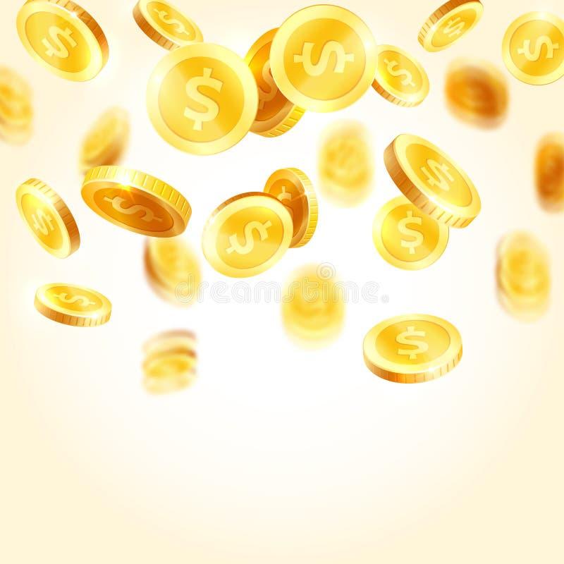 Wektorowego złotego monety pluśnięcia spada ikony royalty ilustracja