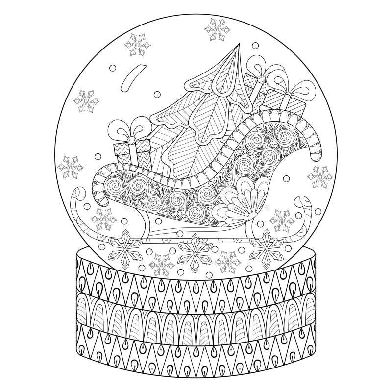 Wektorowego zentangle śnieżna kula ziemska z saneczki, choinką i prezentem, royalty ilustracja