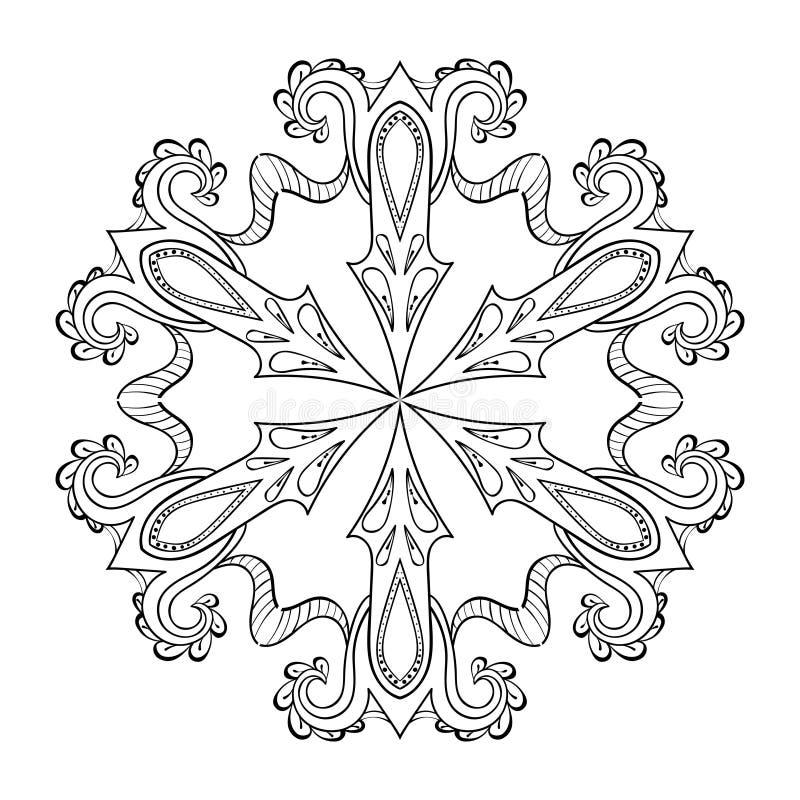 Wektorowego zentangle śnieżny płatek, mandala dla dorosłych kolorystyk stron O ilustracja wektor