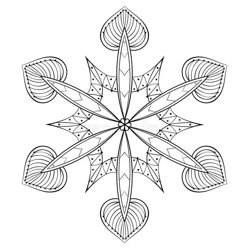 Wektorowego zentangle elegancki śnieżny płatek, mandala dla dorosłej kolorystyki ilustracji