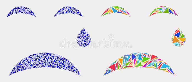 Wektorowej łzy mozaiki Smiley ikona trójboków elementy ilustracji