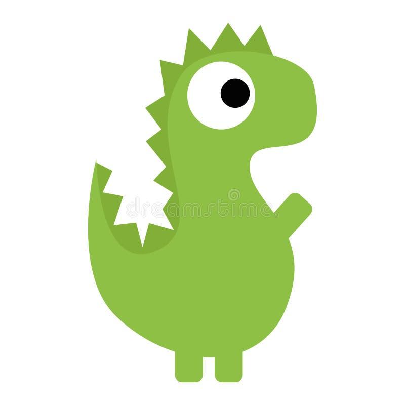 Wektorowej Ślicznej kreskówki Zielony dinosaur Odizolowywający ilustracja wektor