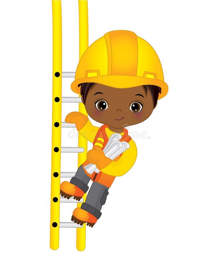 Wektorowej Ślicznej Małej amerykanin afrykańskiego pochodzenia chłopiec Wspinaczkowy Up drabina ilustracji