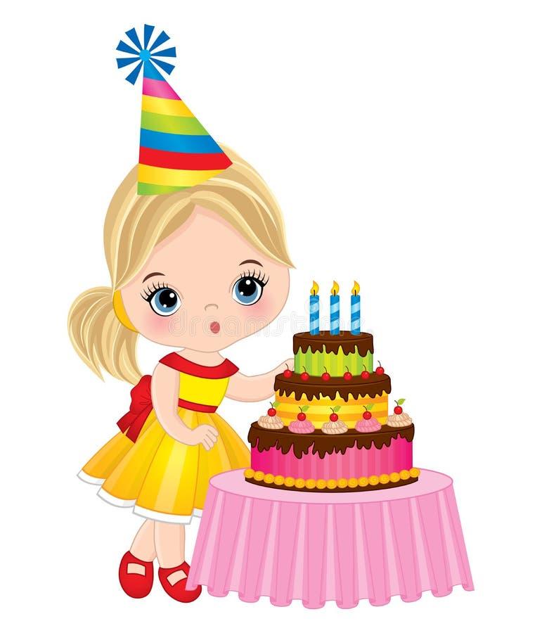 Wektorowej Ślicznej małej dziewczynki Podmuchowe świeczki na Urodzinowym torcie out ilustracja wektor