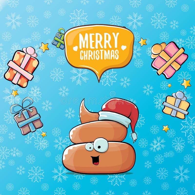 Wektorowej śmiesznej kreskówki poo chłodno śliczna brown uśmiechnięta ikona z Santa czerwonym kapeluszem, prezenty i mowa, gulgoc ilustracji
