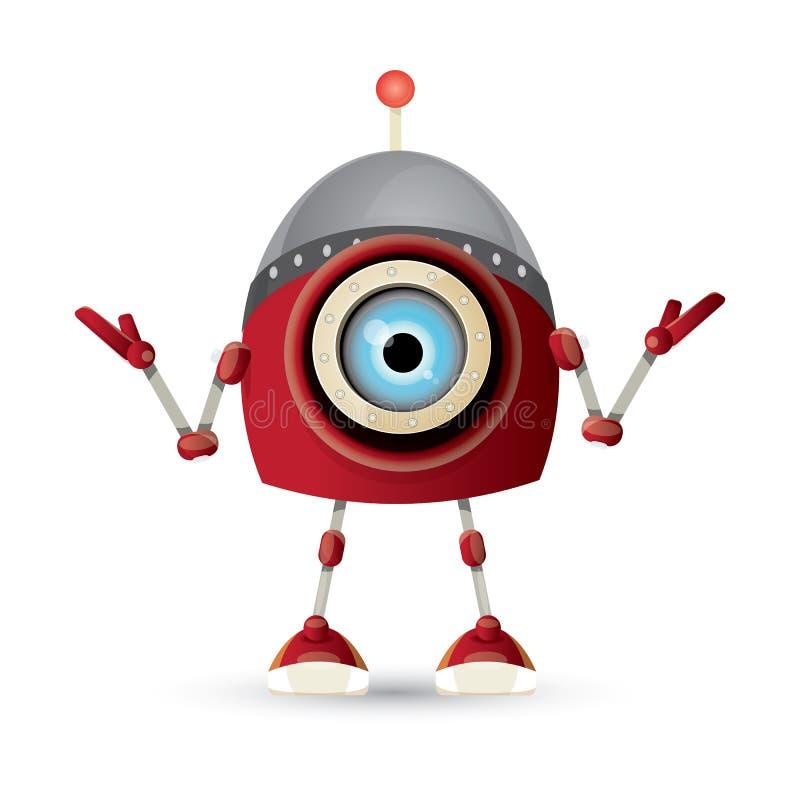 Wektorowej śmiesznej kreskówki robota czerwony życzliwy charakter odizolowywający na białym tle Dzieciaków 3d robota zabawka Gadk ilustracji