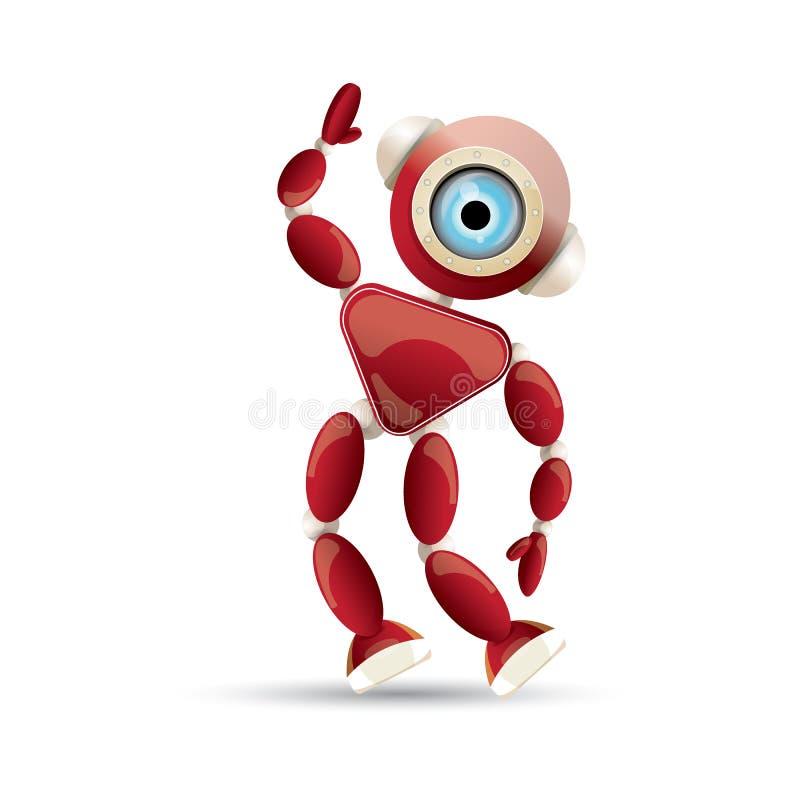 Wektorowej śmiesznej kreskówki robota czerwony życzliwy charakter odizolowywający na białym tle Dzieciaków 3d robota zabawka Gadk royalty ilustracja