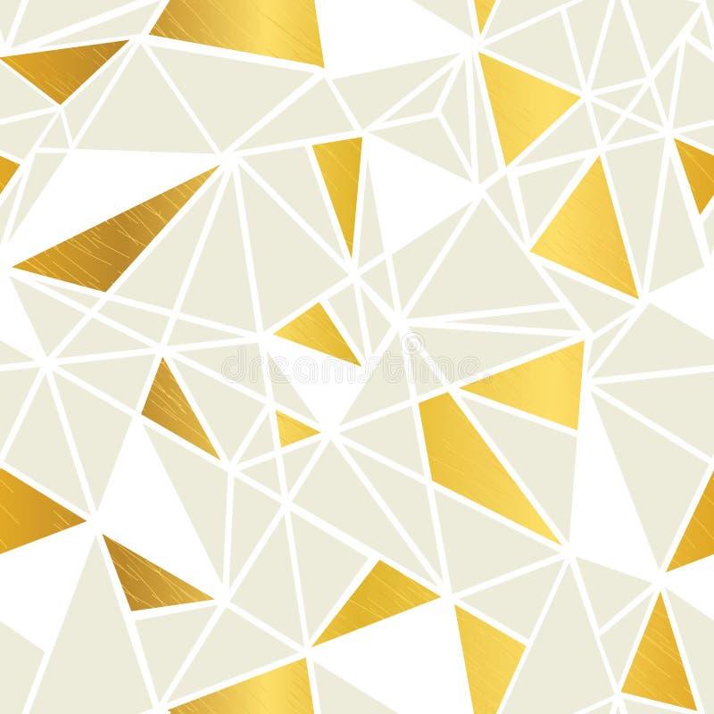 Wektorowej śmietanki i Złocistej folii mozaiki trójboków Geometrycznej powtórki Bezszwowy Deseniowy tło Może Używać Dla tkaniny ilustracji