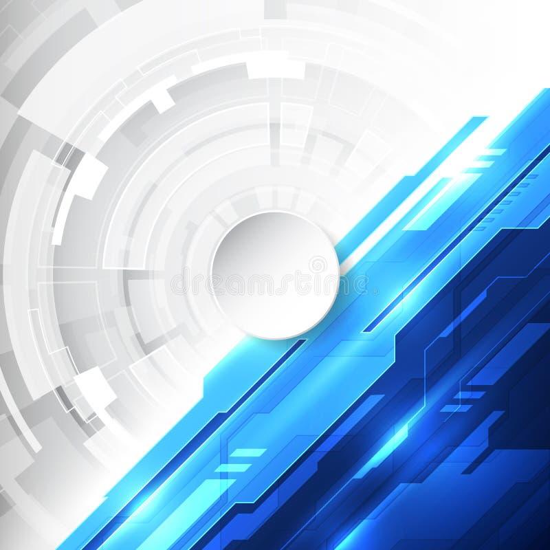 Wektorowej Abstrakcjonistycznej futurystycznej wysokiej technologii cyfrowej koloru błękitny tło, ilustracyjna sieć royalty ilustracja