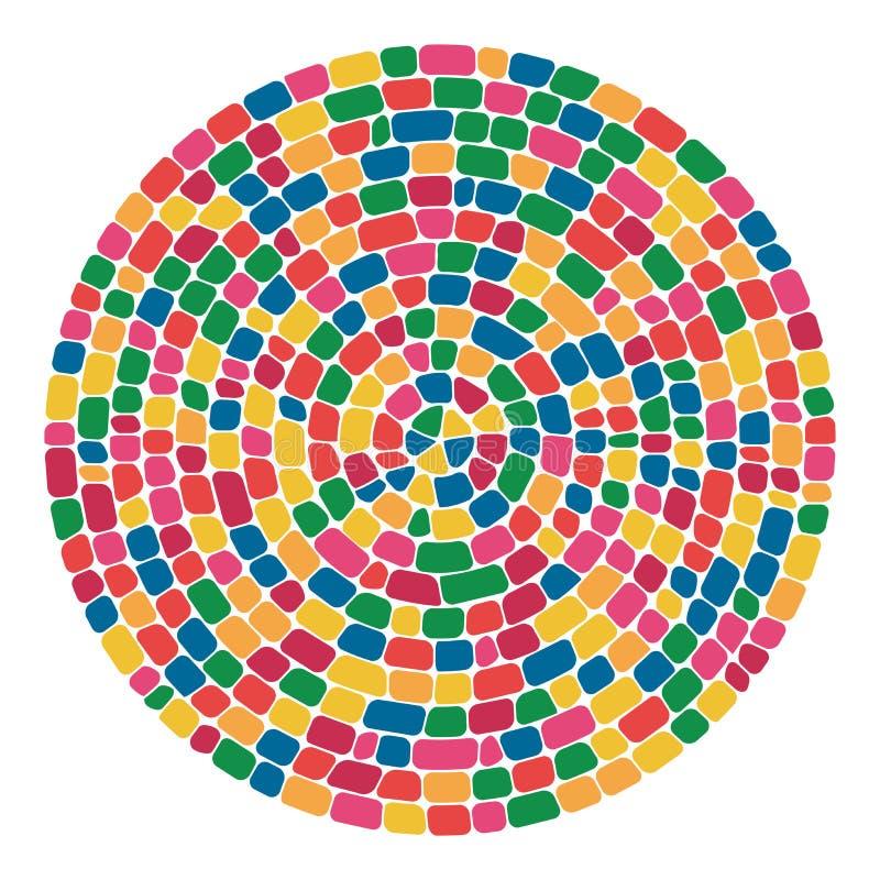 Wektorowej abstrakcjonistycznej kolorowej mozaiki round wzór royalty ilustracja