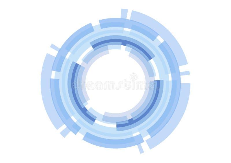 Wektorowej abstrakcjonistycznej technologii błękitny okrąg na białym tle ilustracja wektor