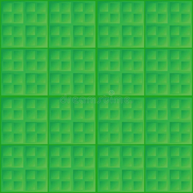 Wektorowej abstrakt zieleni bezszwowy wzór - kwadratowy ti royalty ilustracja