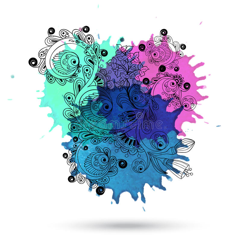 Wektorowej akwareli abstrakcjonistyczny projekt z doodle ilustracja wektor