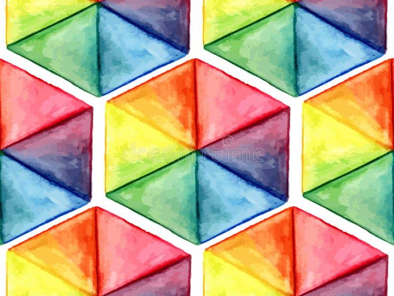 Wektorowej akwareli Geometryczny Bezszwowy wzór z sześciokątami ilustracji