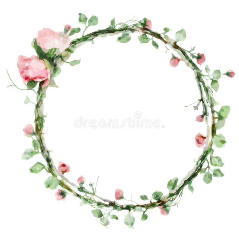 Wektorowej akwareli round rama z różami i ulistnienie elementami Ręka remisu kwiecista granica royalty ilustracja