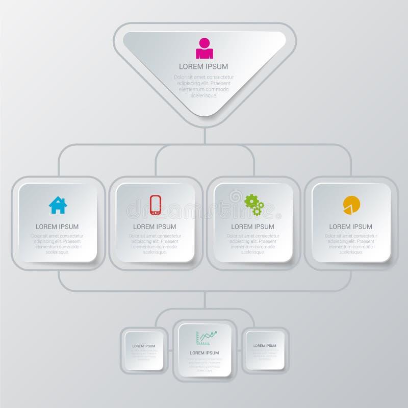 Wektorowej algorytm organizaci szablonu infographic tło ilustracji