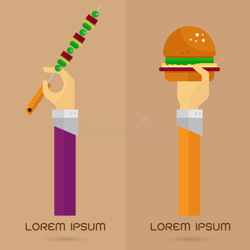 Wektorowej BBQ hamburgeru ikony ustalona ręka i ręka ilustracja wektor