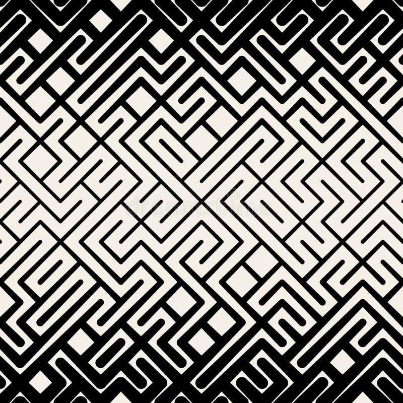Wektorowej Bezszwowej Czarny I Biały lampas linii labiryntu kwadrata Geometryczny wzór royalty ilustracja