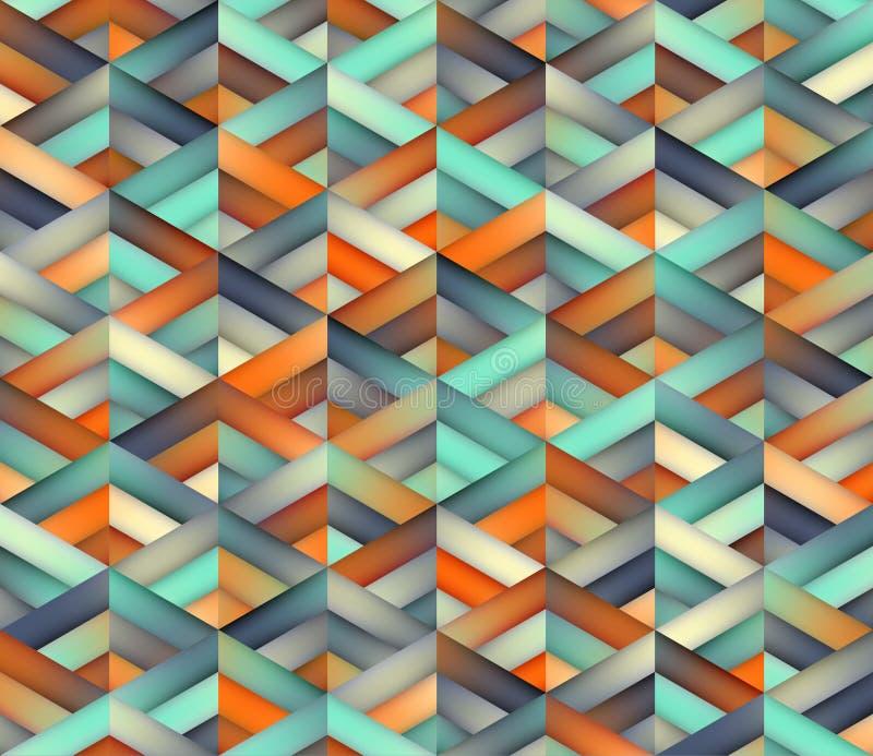 Wektorowej Bezszwowej trójbok siatki cyraneczki Pomarańczowy kolor Cieni Gradientowego Geometrycznego wzór royalty ilustracja