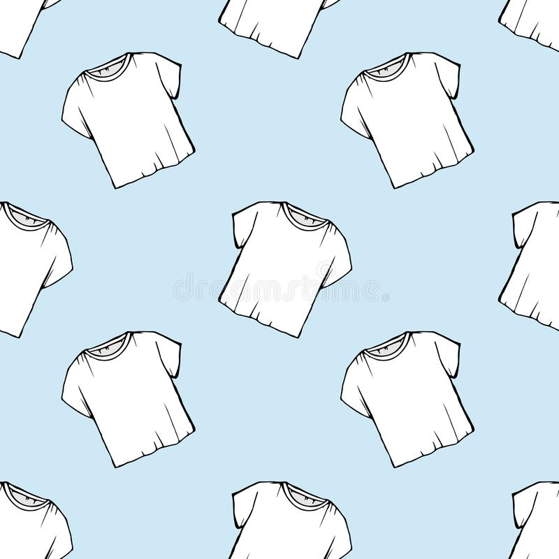 Wektorowej białej koszulki bezszwowy wzór pralniany projekt odprawy suchy czyścić _ rysunkowa netto biała koszulka Błękitny backg royalty ilustracja