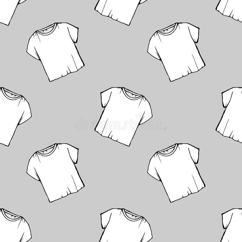 Wektorowej białej koszulki bezszwowy wzór pralniany projekt odprawy suchy czyścić _ rysunkowa netto biała koszulka greaser royalty ilustracja