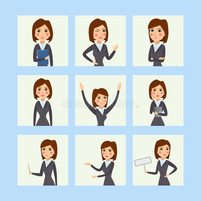 Wektorowej biznesowej kobiety charakteru sylwetki trwanie dorosła biurowa kariera pozuje młodej dziewczyny ilustracja wektor