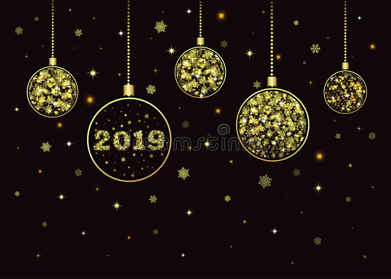 Wektorowej Bożenarodzeniowej piłka nowego roku kartki z pozdrowieniami Złoci płatek śniegu royalty ilustracja
