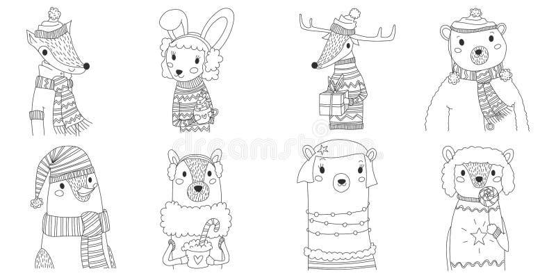 Wektorowej bożych narodzeń zwierząt sylwetki inkasowa ilustracja w kreskowej sztuce z osiem zwierzętami jest ubranym zimę odziewa royalty ilustracja