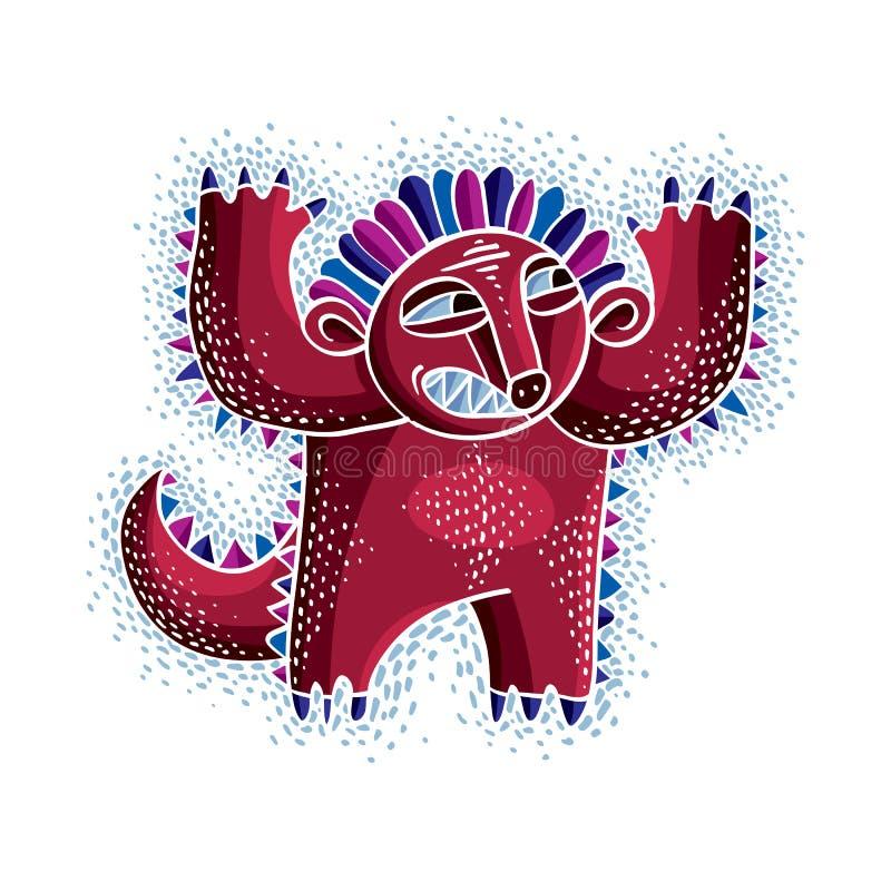 Wektorowej chłodno kreskówki gniewny potwór, prosta dziwna istota Clipar ilustracja wektor