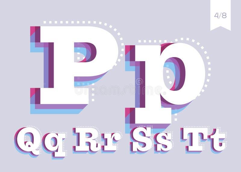 Wektorowej chrzcielnicy projekt Kreatywnie Plakatowy Typeface Abstrakcjonistyczny typ ilustracji