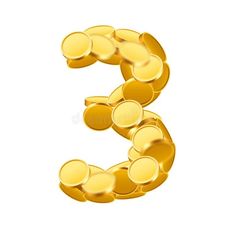 Wektorowej chrzcielnicy styl robić złote monety Monet liczby Liczba 4 trzy ilustracja wektor