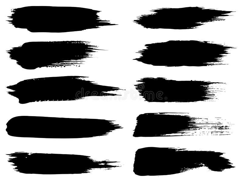 Wektorowej czarnej farby ręcznie robiony kreatywnie szczotkarski uderzenie royalty ilustracja