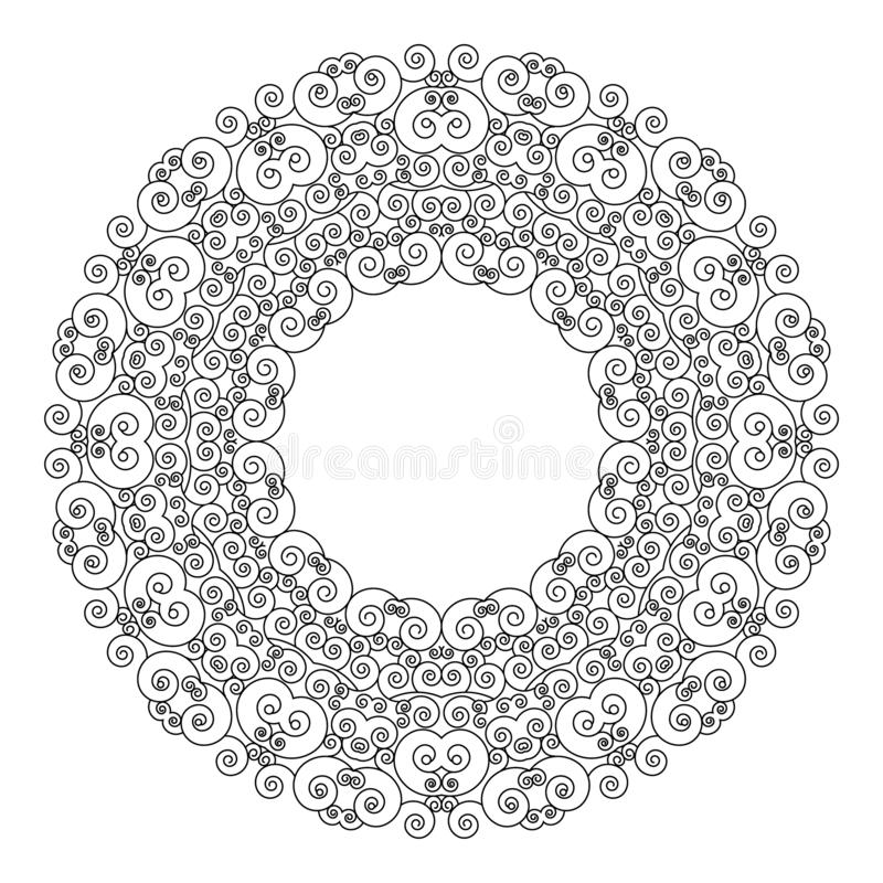 Wektorowej czarny i biały round ramy geometryczny mandala z sztuki nouveau ornamentami - dorosła kolorystyki książki strona royalty ilustracja