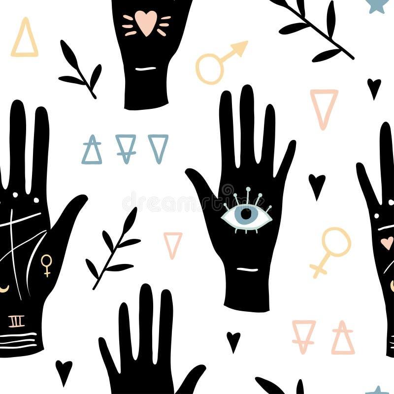 Wektorowej czarownicy magiczny bezszwowy wzór ilustracji