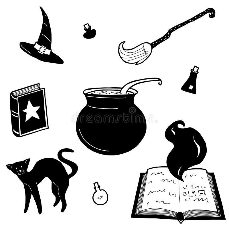 Wektorowej czarownicy projekta magiczni elementy ustawiający Wręcza patroszonego, doodle, kreśli, magik kolekcję Guślarstwo symbo ilustracja wektor
