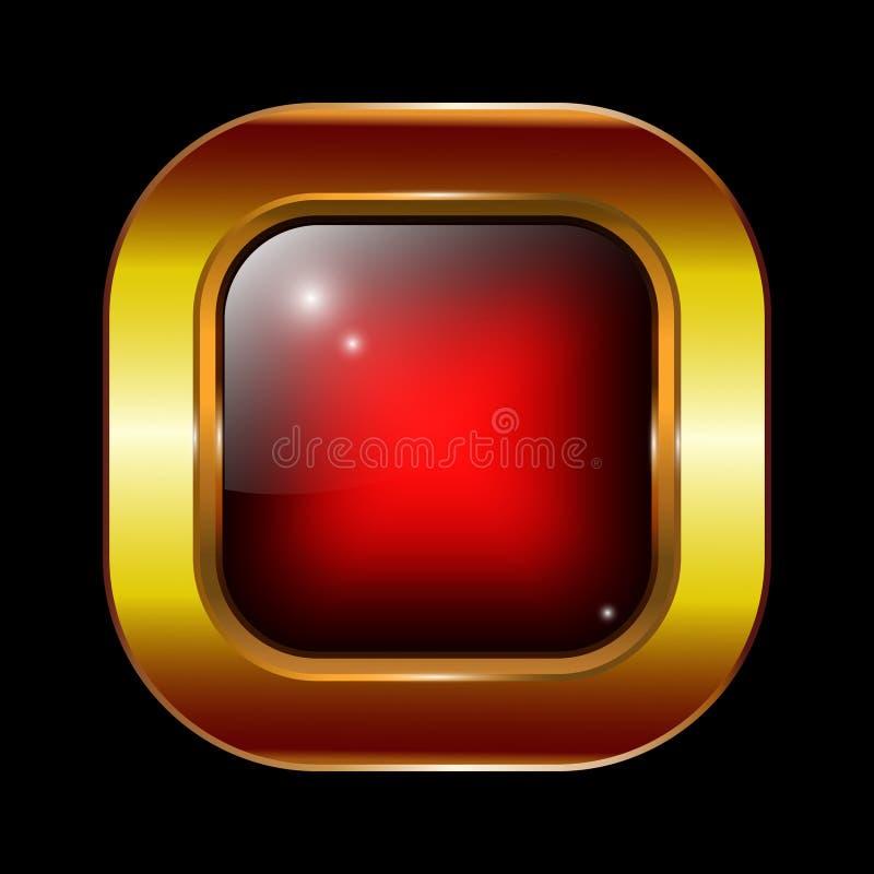 Wektorowej czerwonej szklanej tekstury sieci guzika złoty ramowy projekt ilustracji