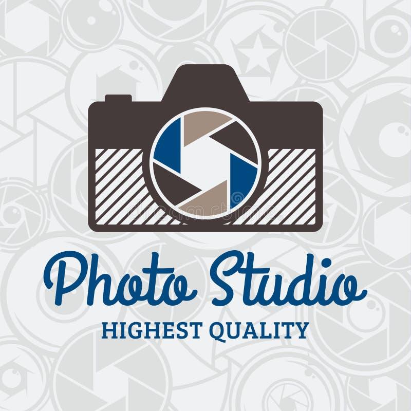 Wektorowej fotografii Pracowniany logo nad kamery żaluzją i obiektywu wzorem ilustracji
