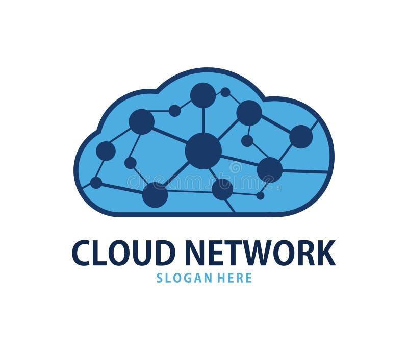 Wektorowej globalnej sieci chmury loga online obłoczny składowy projekt ilustracja wektor