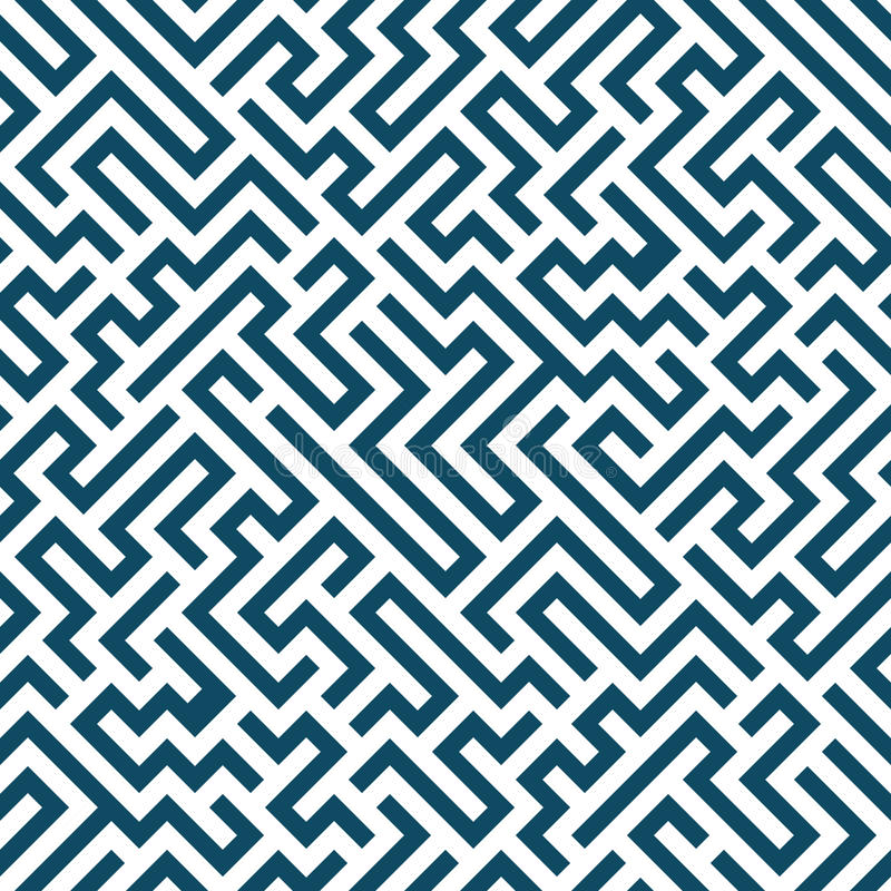Wektorowej grafiki geometrii labiryntu abstrakcjonistyczny wzór błękitny bezszwowy geometryczny labityntu tło ilustracji