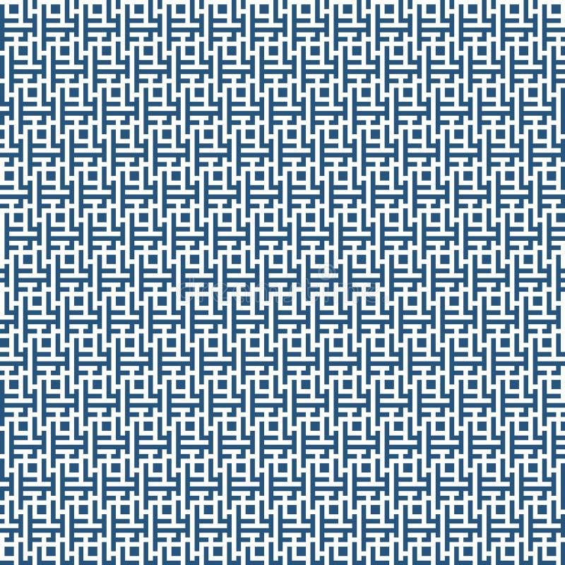 Wektorowej grafiki geometrii labiryntu abstrakcjonistyczny wzór błękitny bezszwowy geometryczny labityntu tło subtelnej poduszki  ilustracji