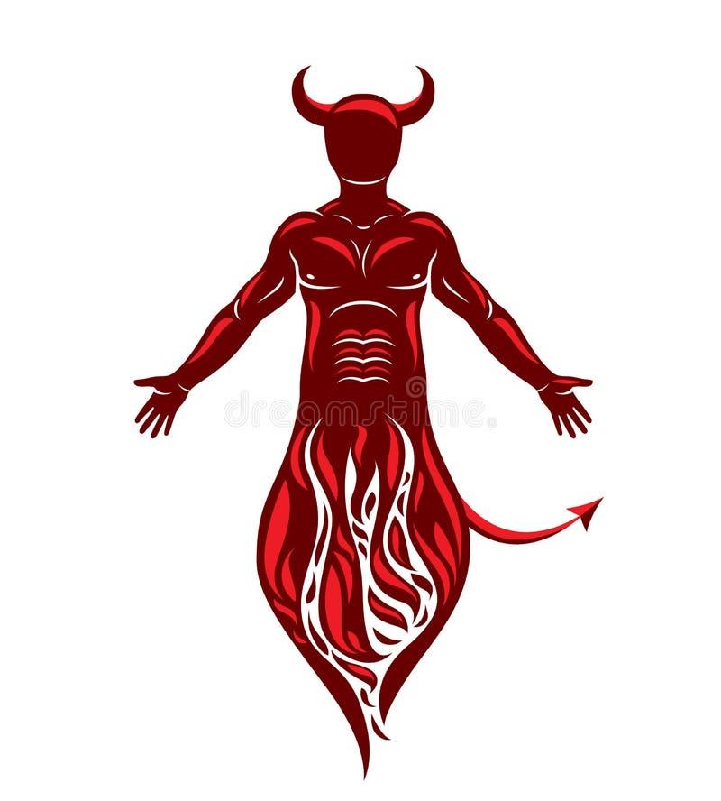 Wektorowej grafiki ilustracja mi??niowa istota ludzka czerpie od ogienia. Mistyczny, piekielny demon, rogi Lucyfer royalty ilustracja