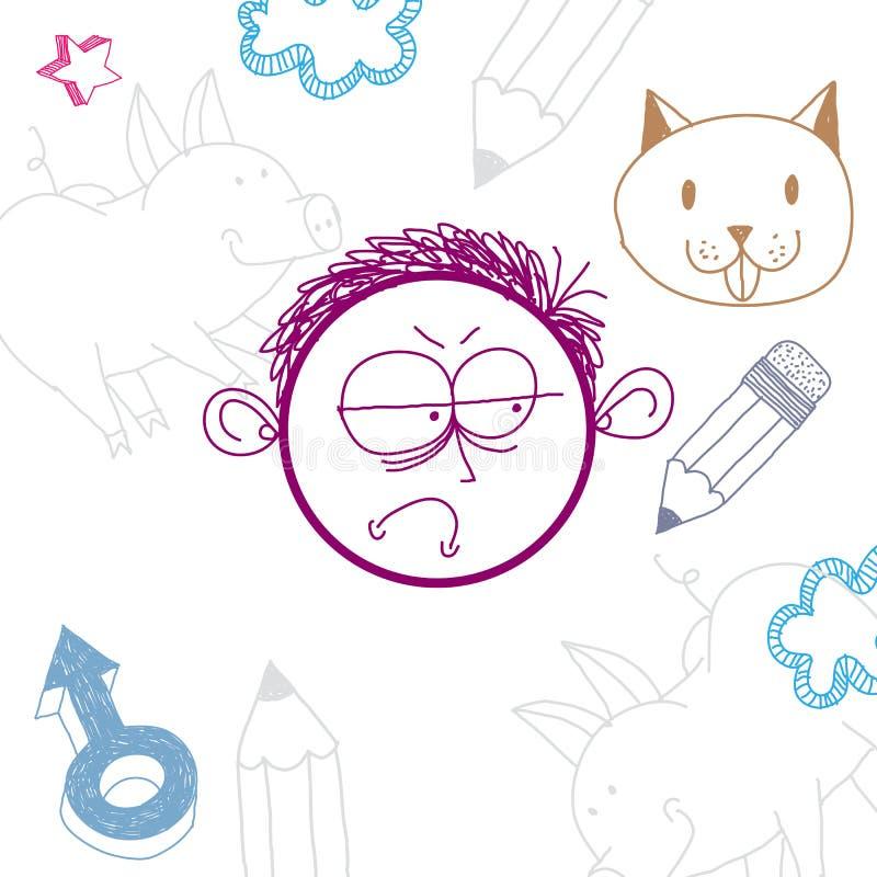 Wektorowej grafiki kolorowy rysunek osobowości twarz, smutna samiec S ilustracja wektor