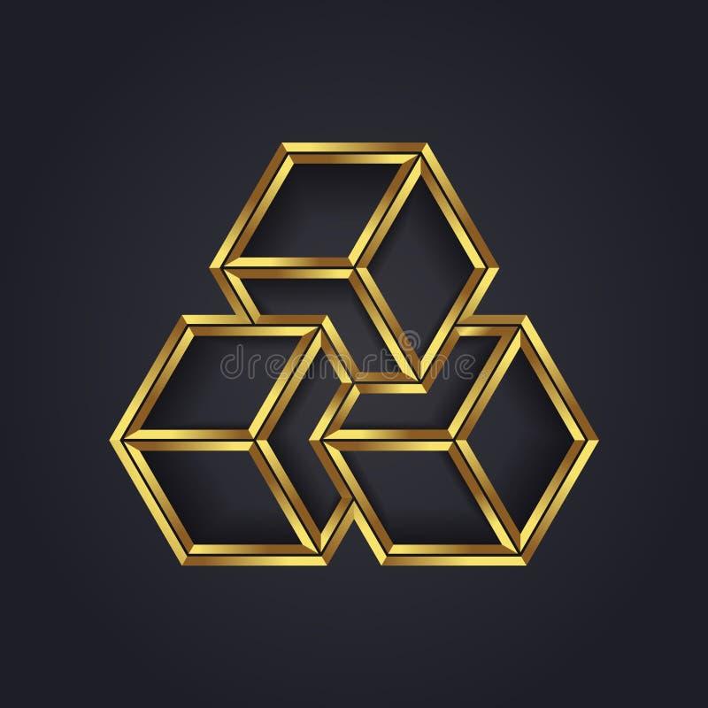 Wektorowej grafiki okulistyczny złudzenie, geometryczny sześcianu symbol dla twój firmy w złocie/ ilustracja wektor